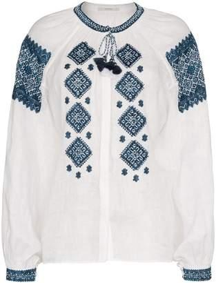 Vita Kin mirror embroidered silk top