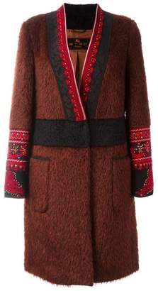 Etro embroidered detail V-neck coat