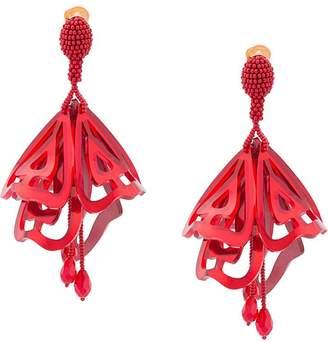Oscar de la Renta Impatiens large clip-on earrings