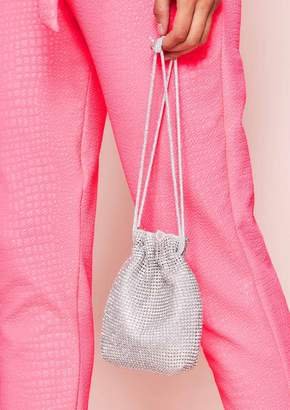 3271bc1fa2a Missy Empire Missyempire Ines Silver Diamante Drawstring Bucket Bag