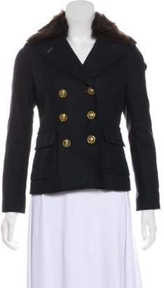 Tory Burch Shearling Trimmed Wool Jacket