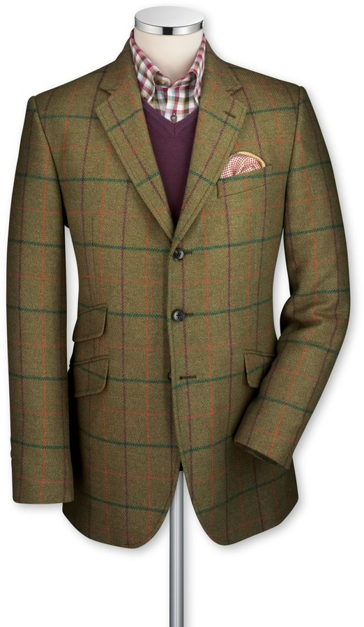 Charles Tyrwhitt Olive Saxony tweed classic fit hacking sport coat