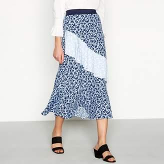 Red Herring Blue Floral Print Tiered Midi Skirt