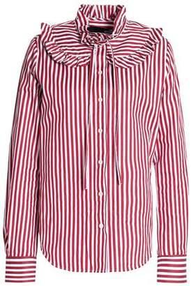 Love Moschino Ruffle-Trimmed Striped Cotton-Poplin Shirt