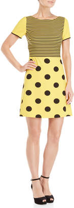 Moschino Yellow & Black Printed Short Sleeve A-Line Dress