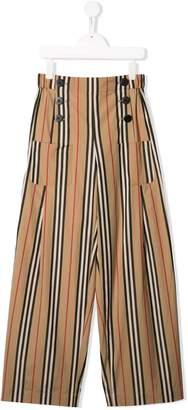 Burberry TEEN Icon Stripe Cotton Sailor Trousers