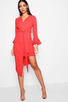 boohoo Asymmetric Belted Midi Dress