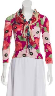 Blumarine Floral Print Lightweight Cardigan Pink Floral Print Lightweight Cardigan