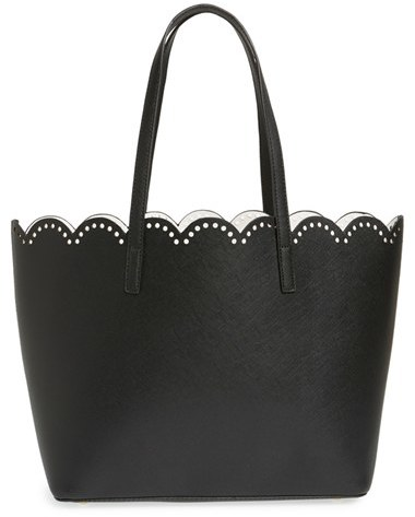 Junior Women's Bp. Scalloped Faux Leather Tote - Black