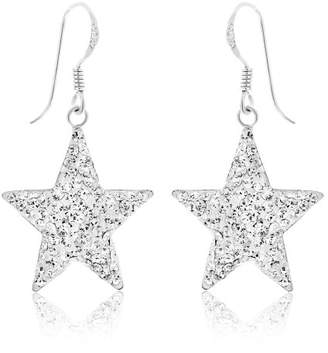 Ornami Sterling Silver Crystal Star Drop Earrings