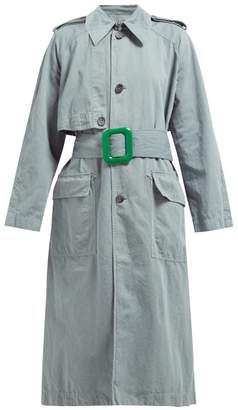 Acne Studios Cotton And Linen Blend Trench Coat - Womens - Green