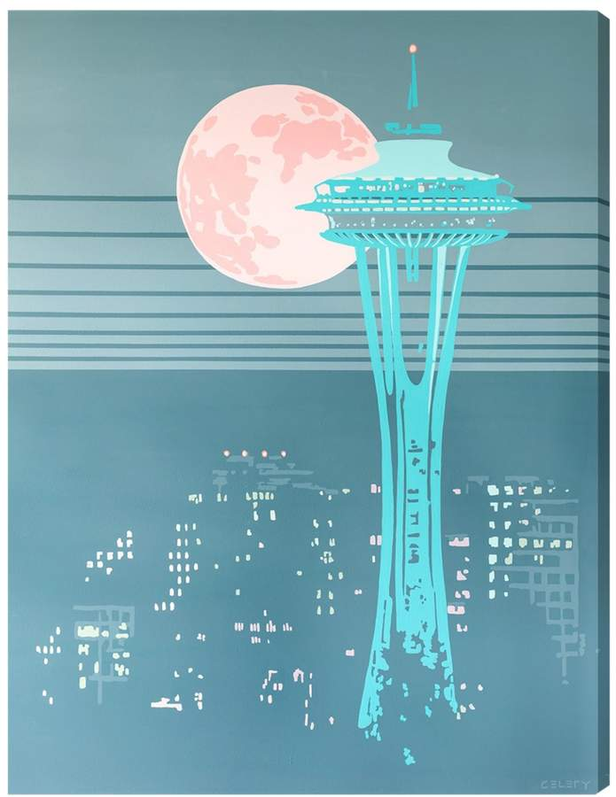 Gentle Night Seattle Space Needle (Canvas)