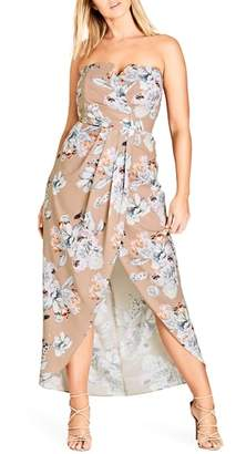 City Chic Paper Floral Print Maxi Dress