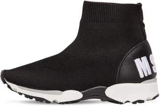 MSGM Logo Sport Knit Slip-On Sneakers