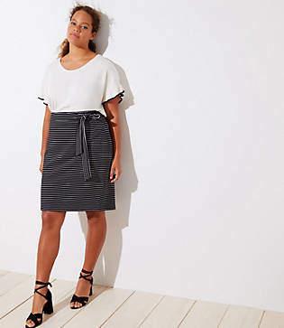 LOFT Plus Striped Tie Waist Pencil Skirt