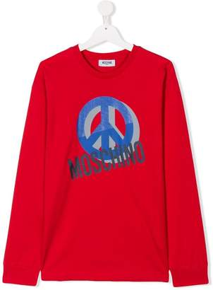 Moschino Kids TEEN peace logo T-shirt