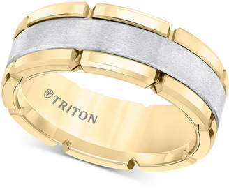 Triton Comfort-Fit Band (8mm) in Yellow & White Tungsten Carbide, Also Available in Rose & Black and Rose & White Tungsten