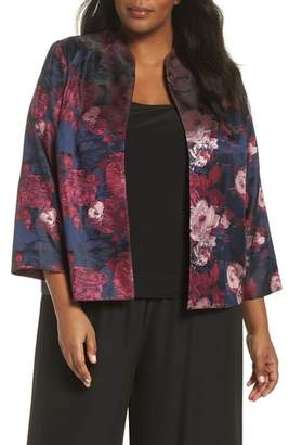 Alex Evenings Alex Evening Print Jacquard Twinset Set