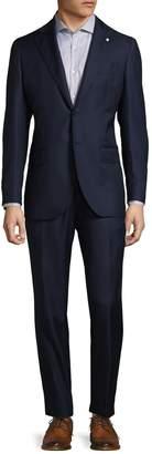 Lubiam Men's Notch Lapel Virgin Wool Suit