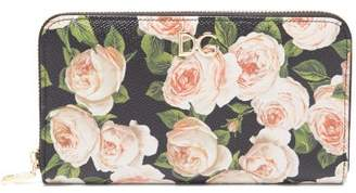 Dolce & Gabbana Rose Print Continental Dauphine Leather Wallet - Womens - Multi