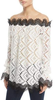 Naeem Khan Off-Shoulder Lace Top with Contrast Trim