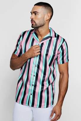 boohoo Wide Stripe Short Sleeve Revere Satin Shirt