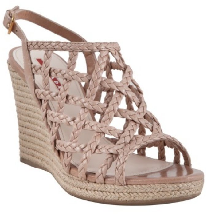 Prada Prada Sport cameo braided leather slingback wedges