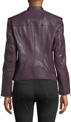 Iconic American Designer Faux Leather Seamed Moto Jacket