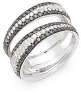Roberto Coin 18K White Gold & Diamond Double Band Ring