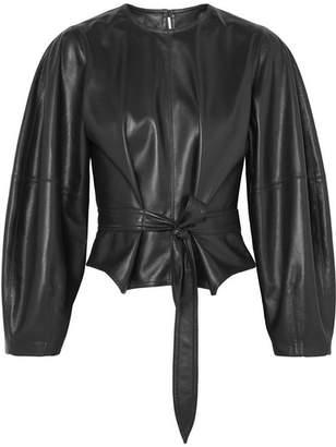 Nanushka - Corsa Tie-detailed Vegan Faux Leather Blouse - Black