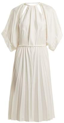Maison Margiela Pleated Cut Out Satin Dress - Womens - White