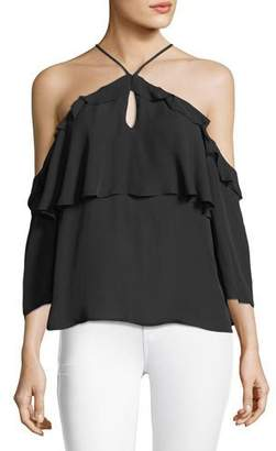 Paige Luciana Halter Off-the-Shoulder Ruffled Silk Blouse