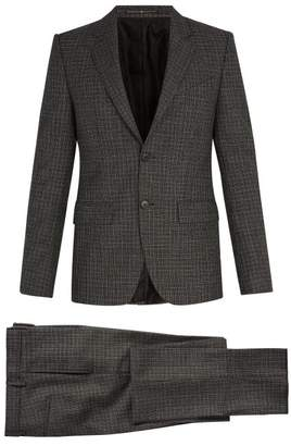 Givenchy Single Breasted Houndstooth Wool Suit - Mens - Grey