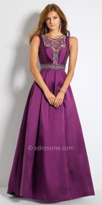 Camille La Vie Beaded Illusion Mikado Evening Dress $290 thestylecure.com