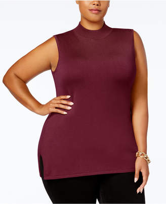JM Collection Plus Size Mock-Neck Sleeveless Sweater
