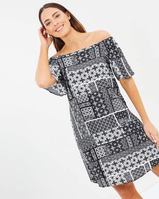 Wallis Mono Patch Bardot Dress