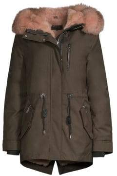 Mackage Women's Chara-X Fox& Rabbit Fur-Trim Down Coat - Army Blush - Size Small