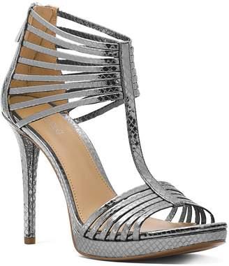 MICHAEL Michael Kors Women's Snake-Embossed Leather T-Strap High Heel Sandals
