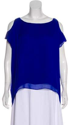 Alice + Olivia Cold-Shoulder Silk Top