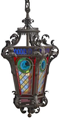 Rejuvenation Large European Wrought Iron & Stained Glass Lantern Pendant
