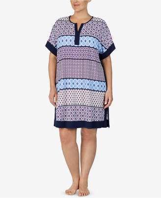 Ellen Tracy Plus Size Mixed-Print Short Nightgown
