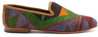 Artemis Design Shoes - Aztec Pattered Woven Kilim And Leather Loafers - Mens - Multi