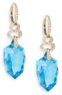 Effy Blue Topaz, 0.55 TCW Diamond & 14K Yellow Gold Drop Earrings