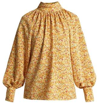 Anna October - Floral Print High Neck Cotton Blouse - Womens - Yellow Multi