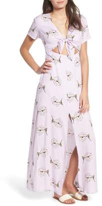 --- Cutout Tie Front Maxi Dress