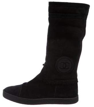 Chanel CC Suede Mid-Calf Boots