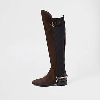 River Island Dark brown over the knee wide fit chain boots