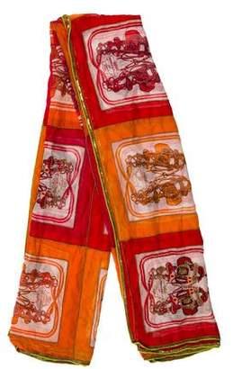 Hermes Embellished Brides de Gala Silk Mousseline Shawl