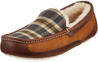 UGG Men's Ascot Plaid Leather/Suede Slippers