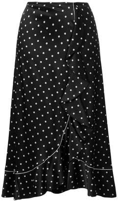 Ganni asymmetric ruffle detail spotted skirt